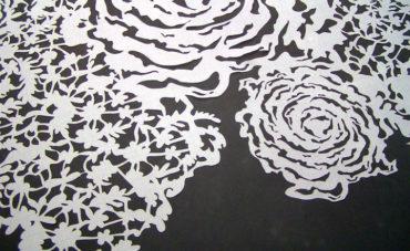 Laser cut silk for Vera Wang